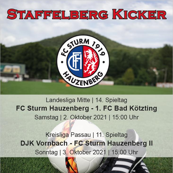 Staffelberg Kicker zum Heimspiel gegen den 1. FC Bad Kötzting ist online