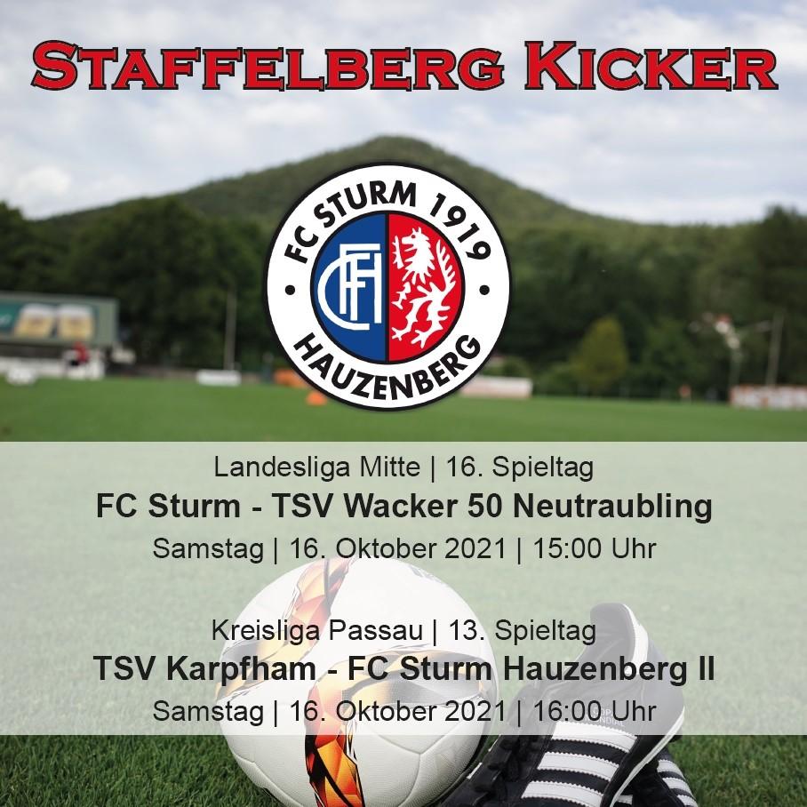 Staffelberg Kicker zum Heimspiel gegen den TSV Wacker 50 Neutraubling ist online